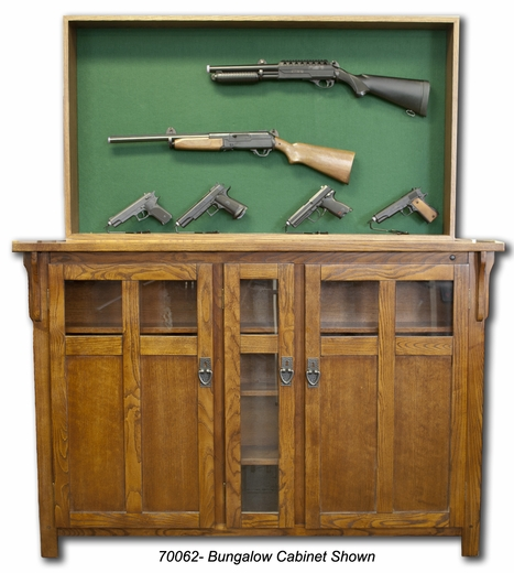 This hidden gun display rack lifts out of the top of this wood cabinet ...
