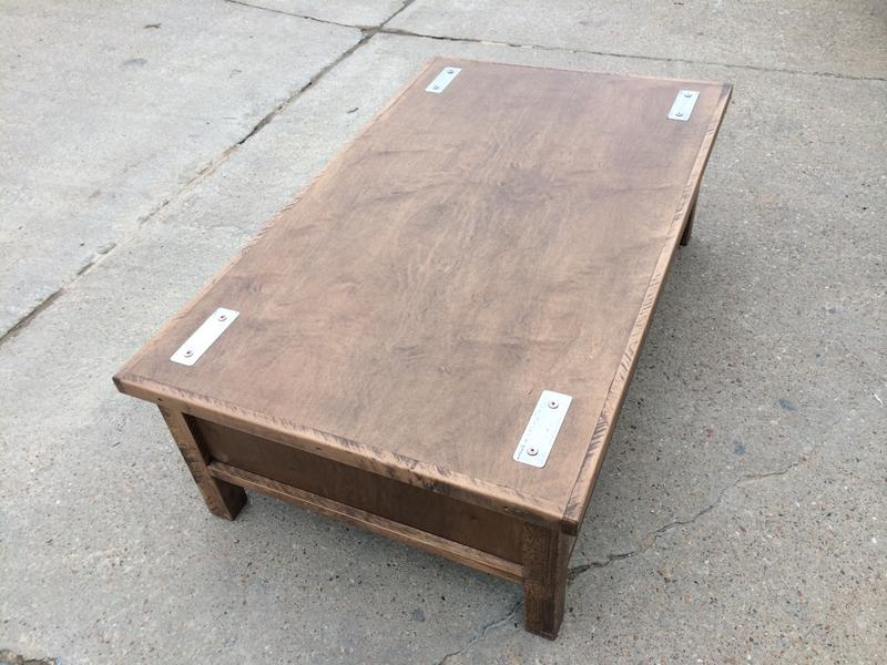 Hidden gun storage coffee table stashvault for Long coffee table with storage
